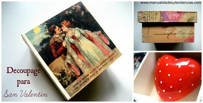Caja de madera decorada con decoupage / Decoupage wooden box / Boîte en bois decoré avec du decoupage