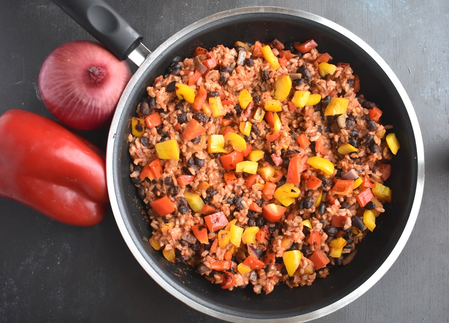 Vegan Mexican Rice and Beans Skillet