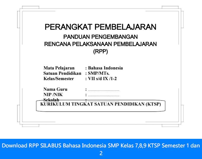Download RPP SILABUS Bahasa Indonesia SMP Kelas 7,8,9 KTSP Semester 1 dan 2