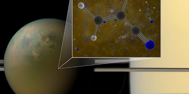 Archival ALMA data have confirmed that molecules of vinyl cyanide reside in the atmosphere of Titan, Saturn's largest moon. Titan is shown in an optical (atmosphere) infrared (surface) composite from NASA's Cassini spacecraft. In a liquid methane environment, vinyl cyanide may form membranes. Credit: B. Saxton (NRAO/AUI/NSF); NASA