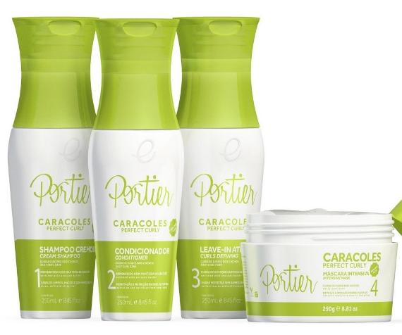 Kit com Shampoo, Condicionador, Leave-in e Máscara da Portier - linha Caracoles