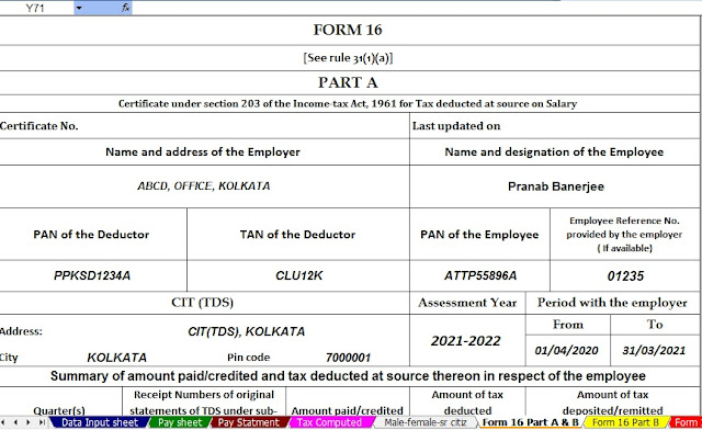 Income Tax Calculator for Non-Govt Employees for F.Y.2020-21