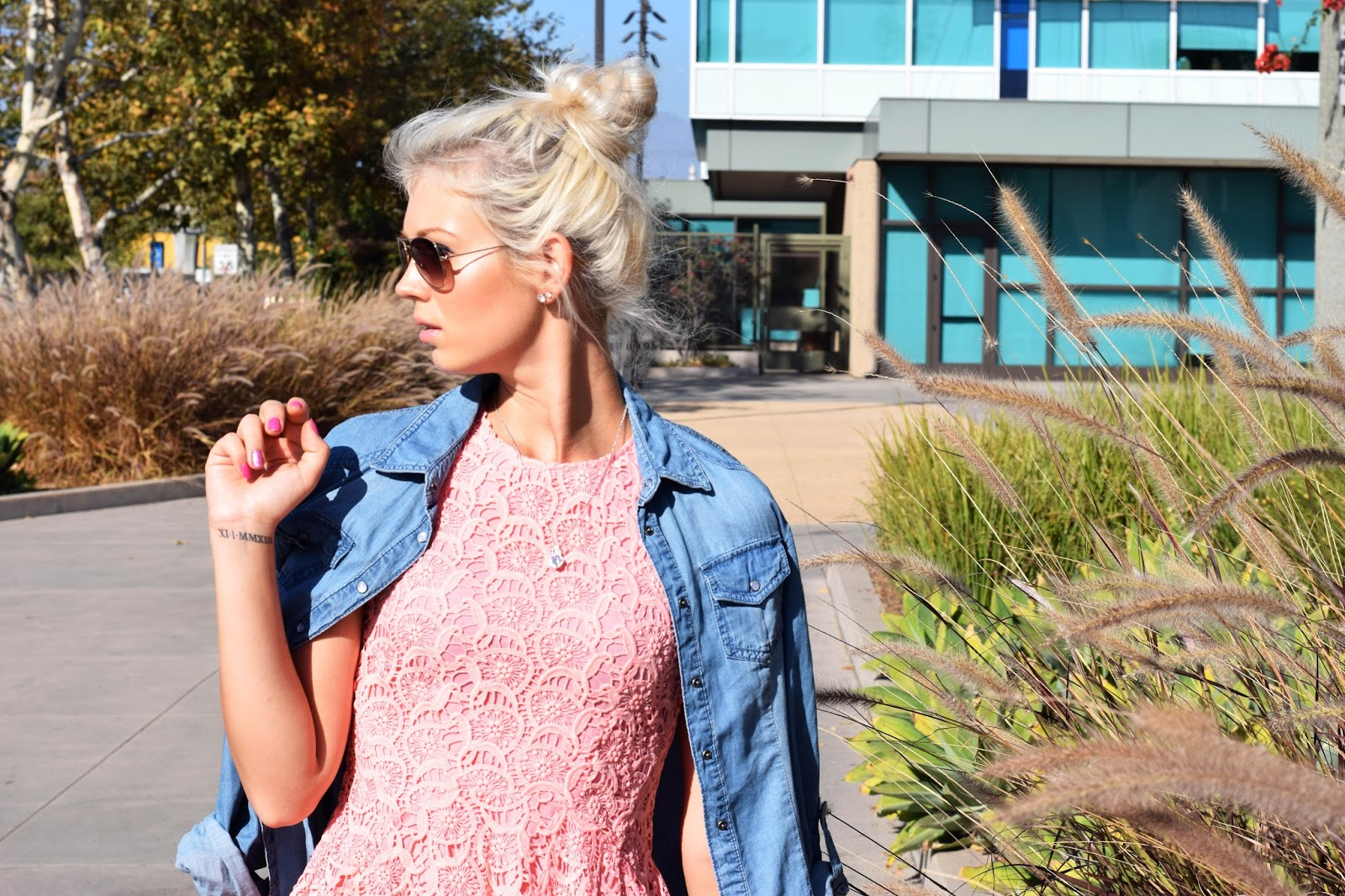 denim shirt, lace dress, summer vibes, german blondy, toms, aviator sunglasses, sunglasses, toms