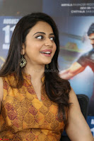 Rakul Preet Singh smiling Beautyin Brown Deep neck Sleeveless Gown at her interview 2.8.17 ~  Exclusive Celebrities Galleries 143.JPG