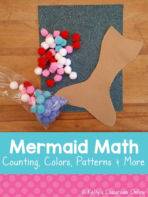 Students in preschool, prekindergarten, and kindergarten can practice their math skills with Mermaid Math activity. Counting, colors, patterning, etc.