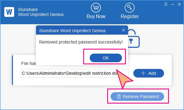 remove editing protection from Word successfully