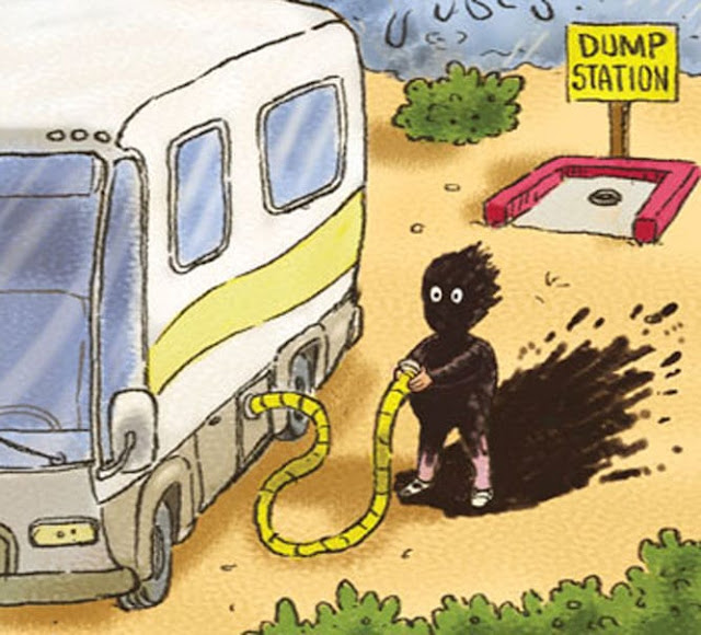 RV sewer, man covered with black water, comical
