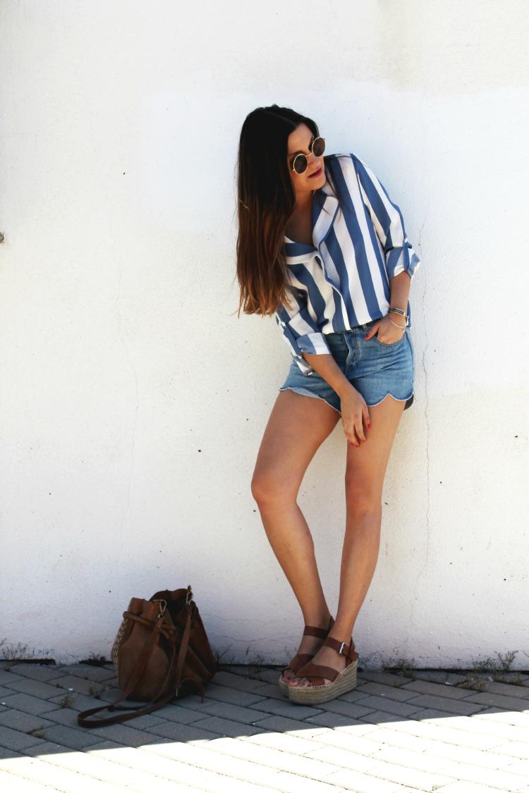 outfit verano camisa rayas blog moda leon