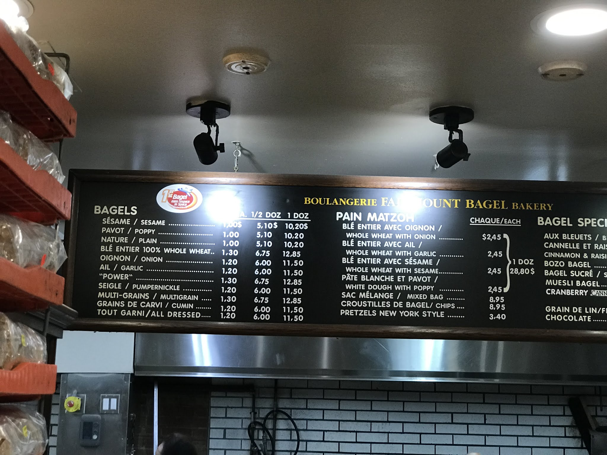preços bagels Montreal