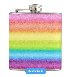 """""""Rainbow Ices"""" Flask digital art rainbow stripes"""
