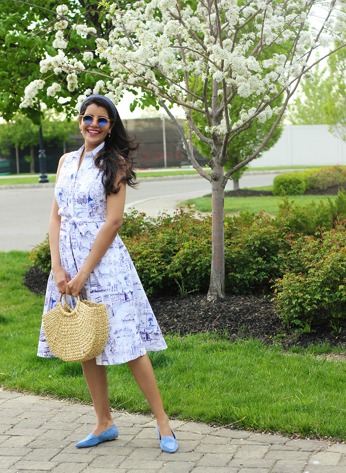 Shirt Dresses For Spring/Summer, Chetta B Paris Toille Print Shirt Dress, Straw Bags With Circle Handle, Blue Suede Loafers