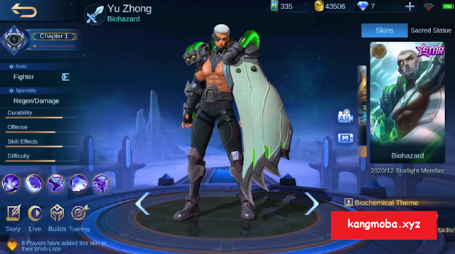 Script Skin Starlight Yu Zhong Biohazard Full Effect Mobile Legends