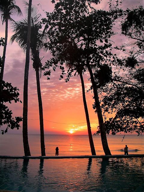 magisk solnedgång på Koh Chang