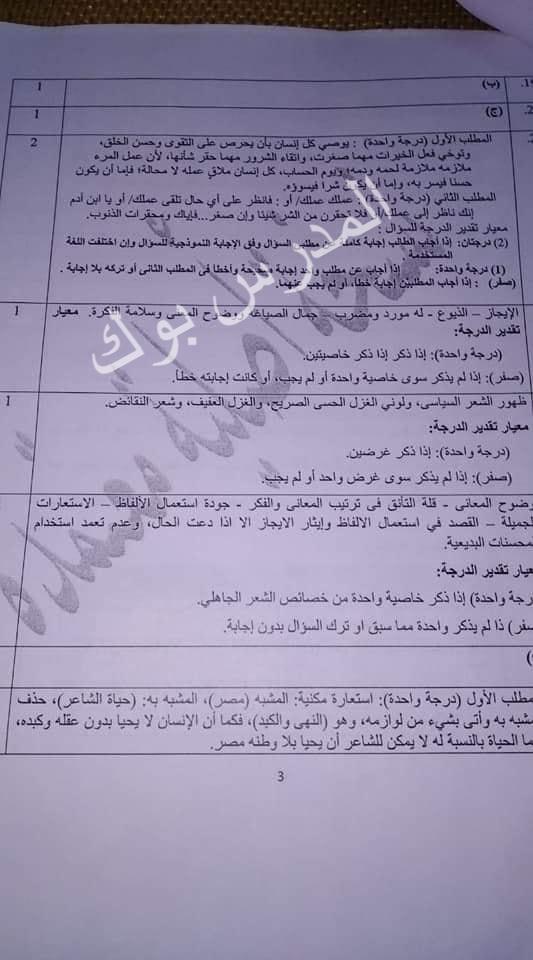 نموذج اجابة امتحان اللغة العربية اولي ثانوي 2019 اوبن بوك