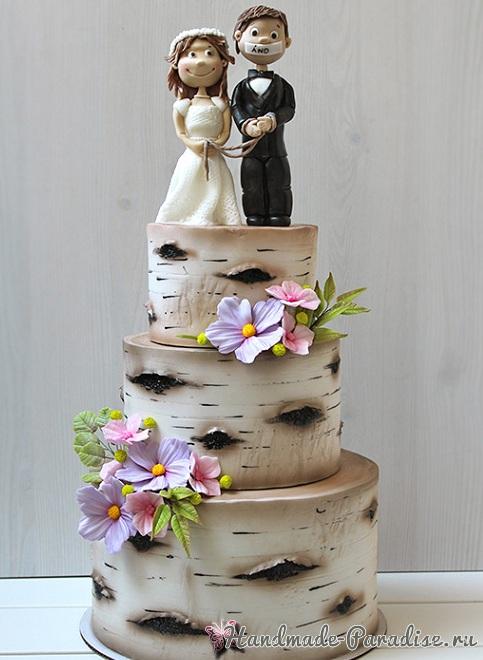3D торт лесной тематики из сахарной мастики (10)