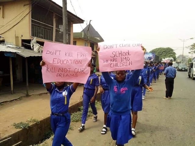 'Don't Hurt Our Daddy' - Rochas Foundation Students Protest Against Gov. Hope