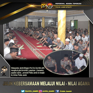 Tingkatkan Iman, Polda Jambi Laksanakan Pengajian di Masjid Al Ihklas Polda Jambi