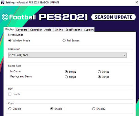PES 2021 Settings.exe for Check Spesifications