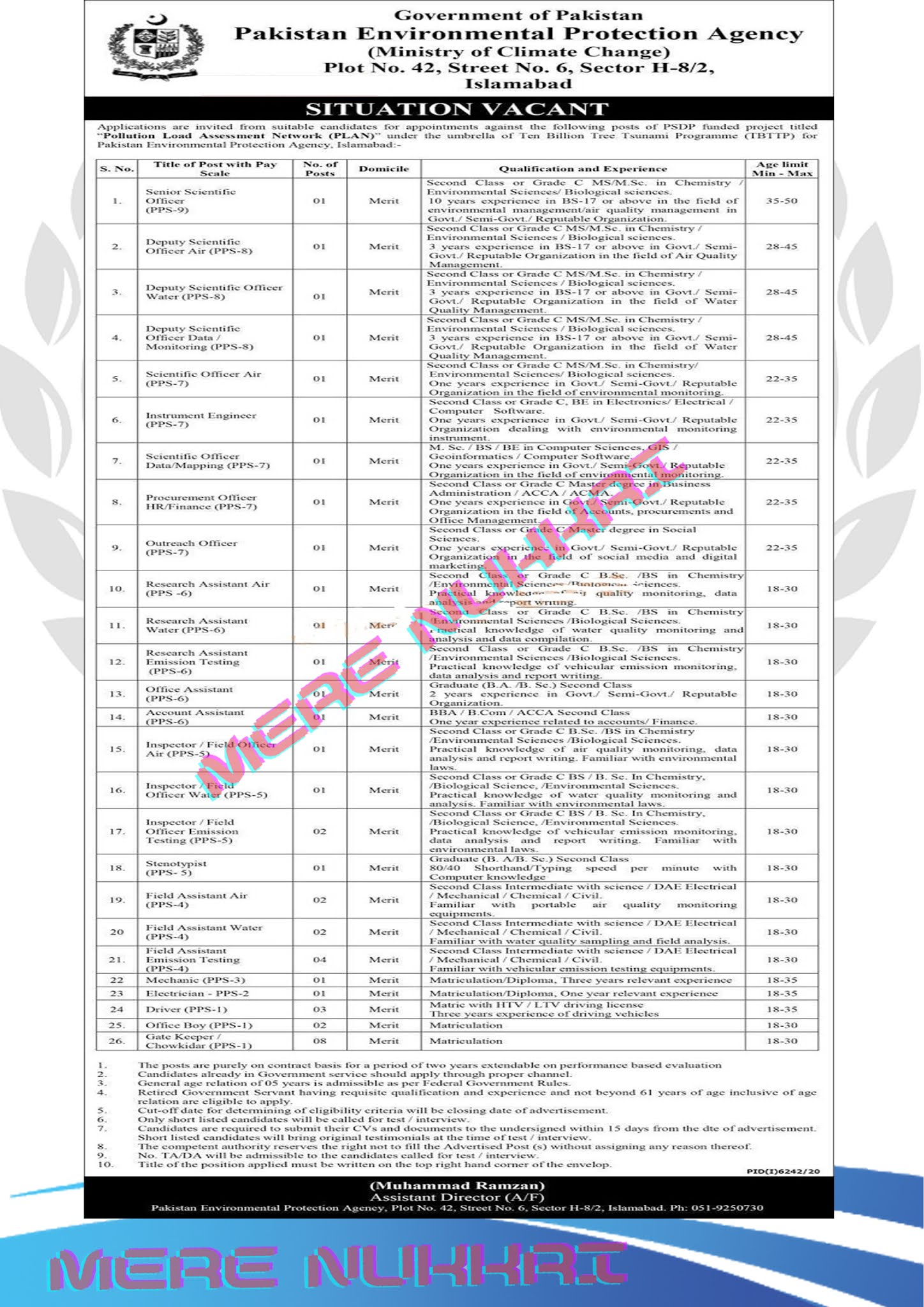 Pakistan Environmental Protection Agency Govt of Pakistan Jobs |Ministry of Climate Change MOCC Jobs 2021