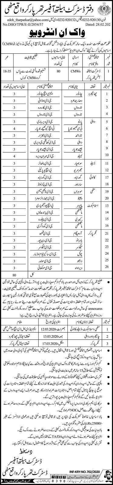 Jobs in Health Department Govt of Sindh 2020