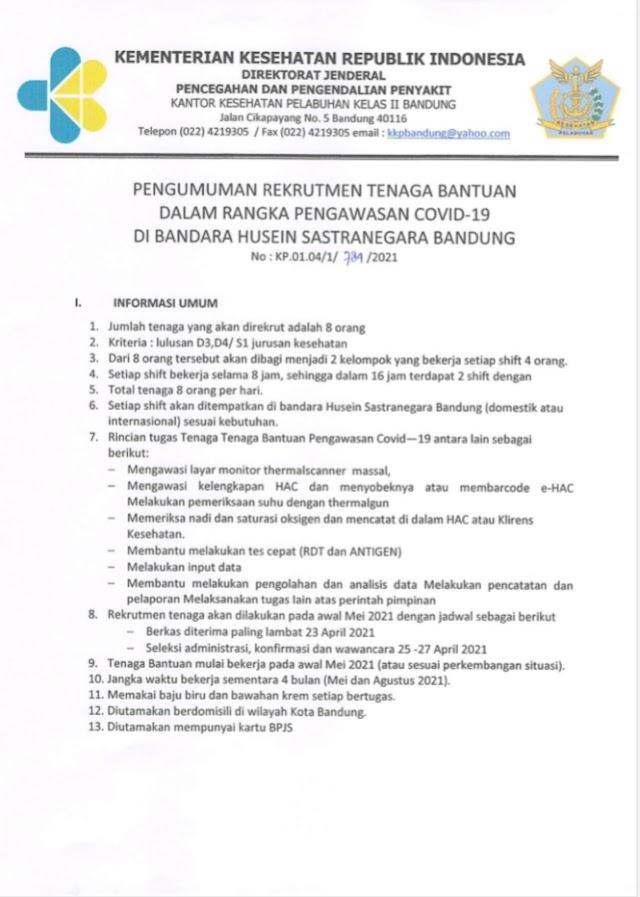Rekruitmen Tenaga Bantuan Dalam Rangka Pengawasan Covid-19 di Bandara Husein Sastranegara Bandung