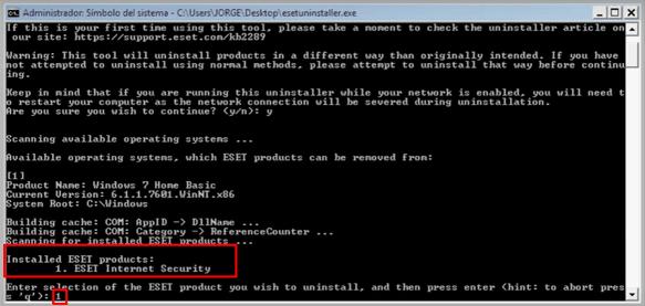Desinstalar eset nod32 proceso 4