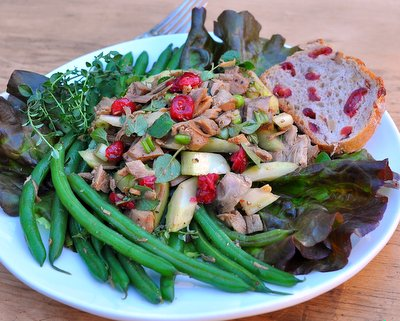 Turkey Salad Supper with Green Beans & Dried Cranberries, another Quick Supper ♥ like the big Thanksgiving feast but light and healthy.