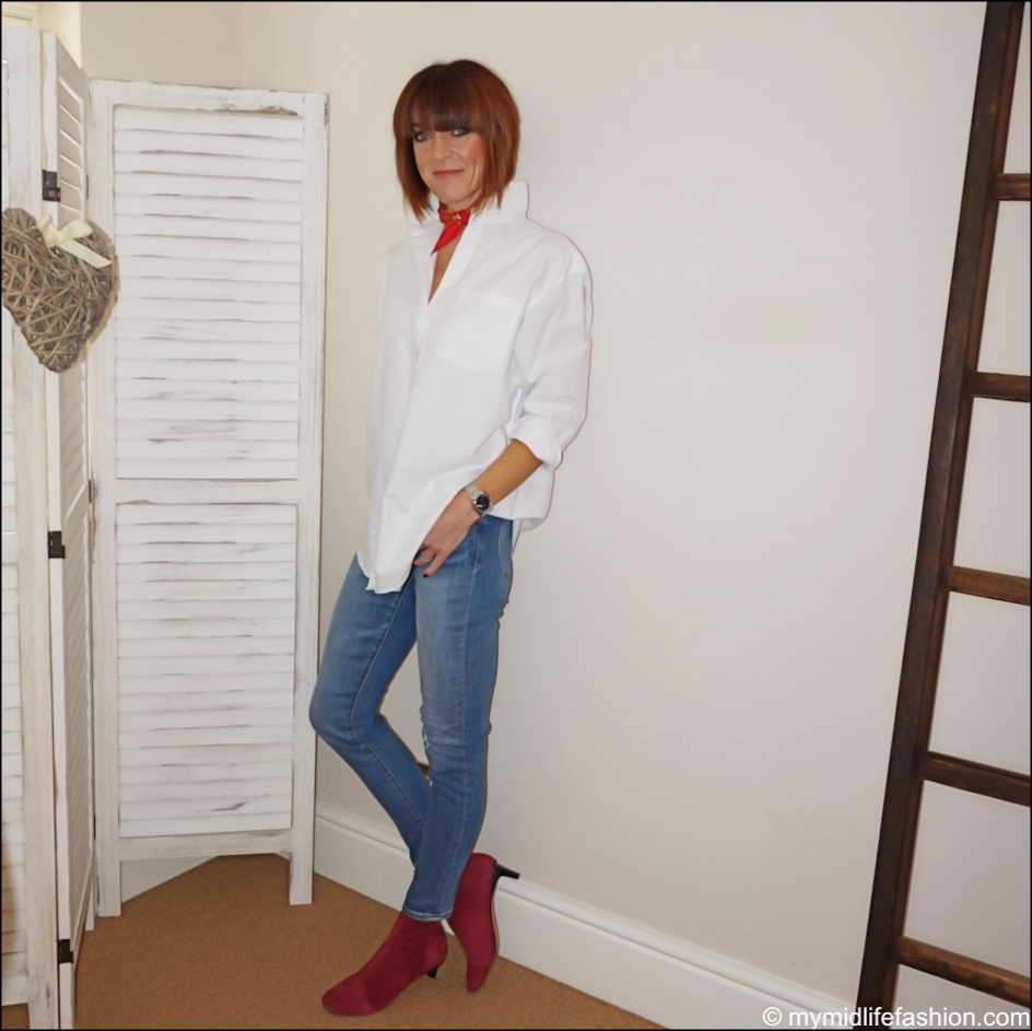my midlife fashion, and other stories oversized button up shirt, j crew toothpick jeans, isabel marant goat suede kitten heel ankle boots, hermes vintage scarf