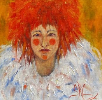 """Red"",a female clown in oils on an 8"" x 8"" x 1.5"" gallery canvas"