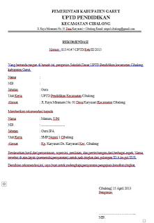 contoh surat resmi untuk kenaikan pangkat
