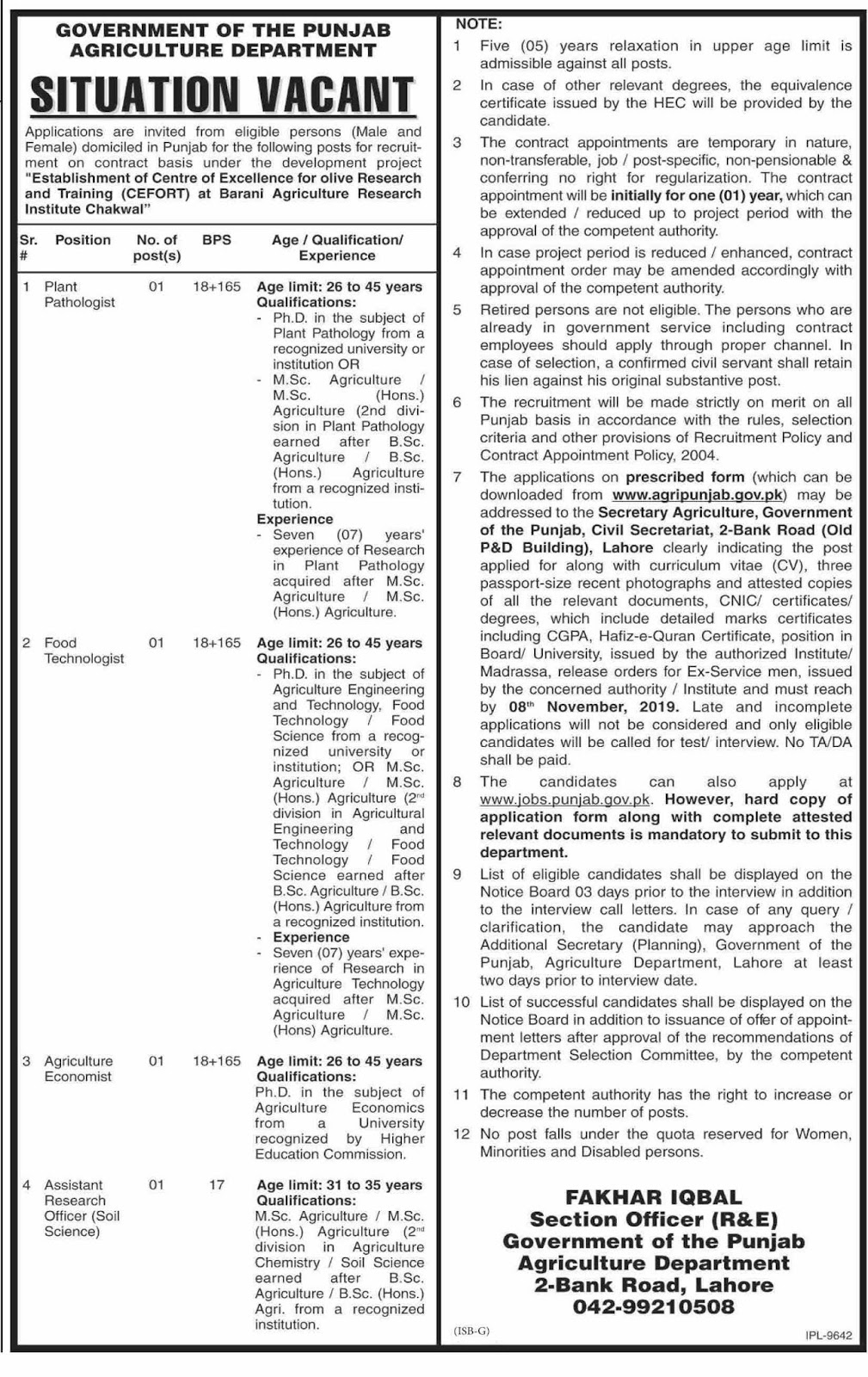 Agriculture Department Govt of Punjab Latest Jobs