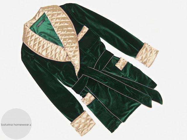 mens green velvet smoking jacket quilted silk robe dressing gown gentleman