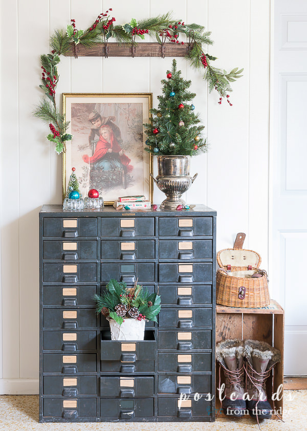 vintage Christmas decor with champagne bucket repurposed as table top Christmas tree stand