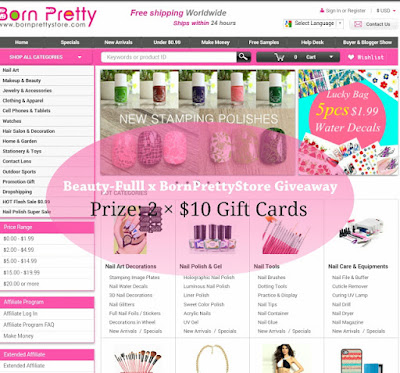 Giveaway by Beauty-Fulll x Born Pretty Store Giveaway (2 x $10 Gift Cards)