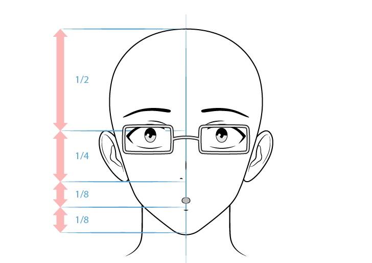 Karakter laki-laki intelektual anime terkejut menggambar wajah