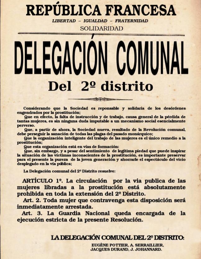 Resolución sobre la prostitución - Comuna de París - Delegación comunal del 2º Distrito - año 1871 Espa%25C3%25B1ol