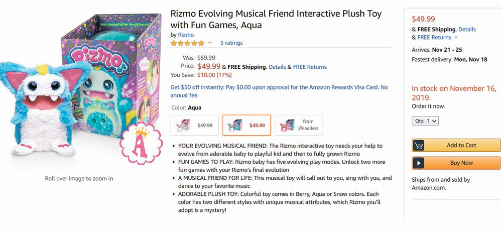 Музыкальная игрушка монстрик Rizmo