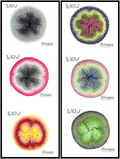 Scheepjes Whirl combinations of 3 for Felted Button free crochet patterns-- Trio Blanket or Lightfall Blanket
