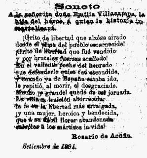 Soneto publicado en el diario El País, 19/9/1891