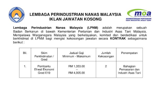 jawatan kosong lembaga perindustrian nanas malaysia