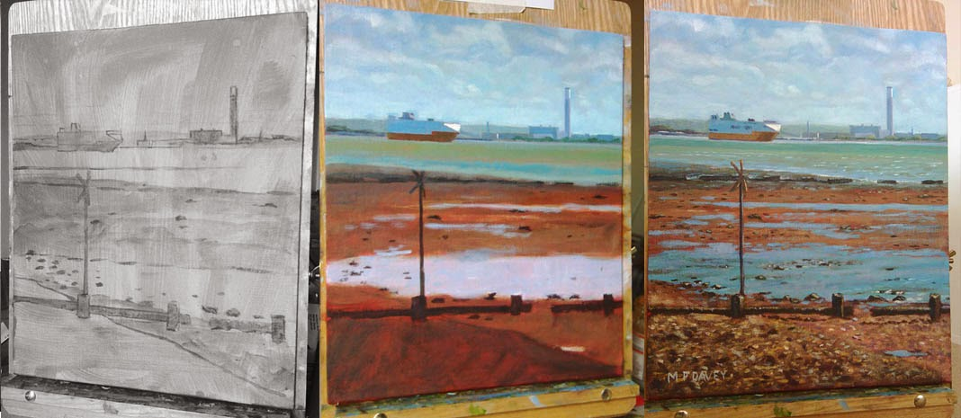 Weston Shore view of Fawley wip stages painting