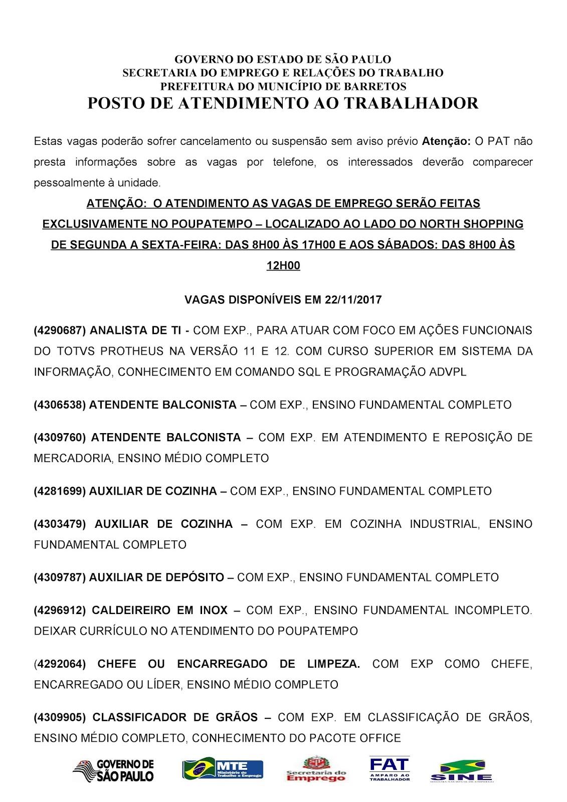 VAGAS DE EMPREGO DO PAT BARRETOS-SP PARA 22/11/2017 QUARTA-FEIRA - Pag. 1