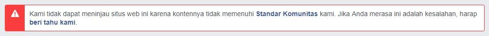 Notifikasi Debug URL Yang Terblokir Oleh Facebook