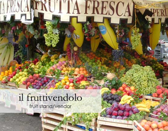 Il fruttivendolo— fruit stand/vendor, excerpt from Food Picture Dictionary Vol. 01 from viaoptimae.com