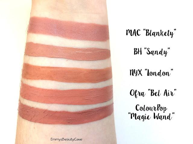 Ofra Bel Air, BH Cosmetics Sandy, NYX London, MAC Blankety, ColourPop Magic Wand