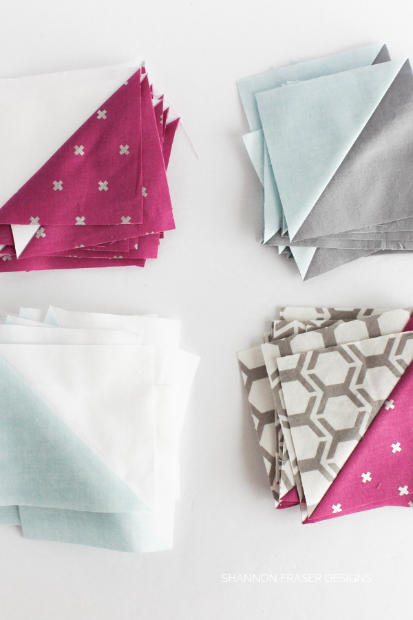 Half square triangles | Rocksteady | Modern quilt pattern by Suzy Quilts | Shannon Fraser Designs #halfsquaretriangles #hst