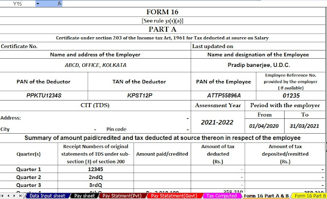 Automated Income Tax Revised Form 16 for the A.Y.2021-22