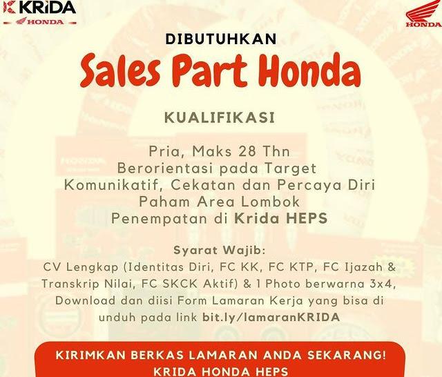 Lowongan Kerja Krida Honda Cakranegara Mataram Lombok NTB
