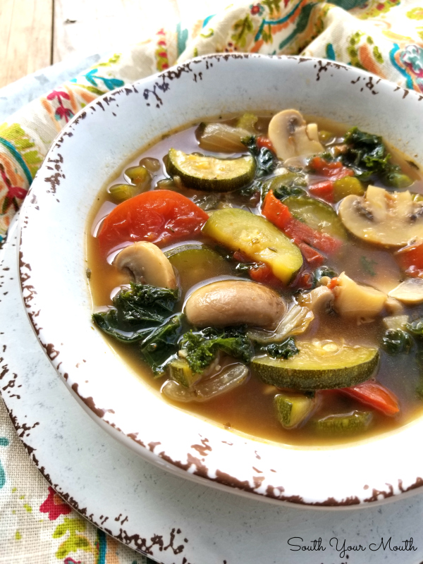 Roasted Vegetable Soup | A protein-packed soup recipe made with bone broth, roasted vegetables and Italian herbs that's low fat, low calories, low carb, high in protein and PACKED with flavor.