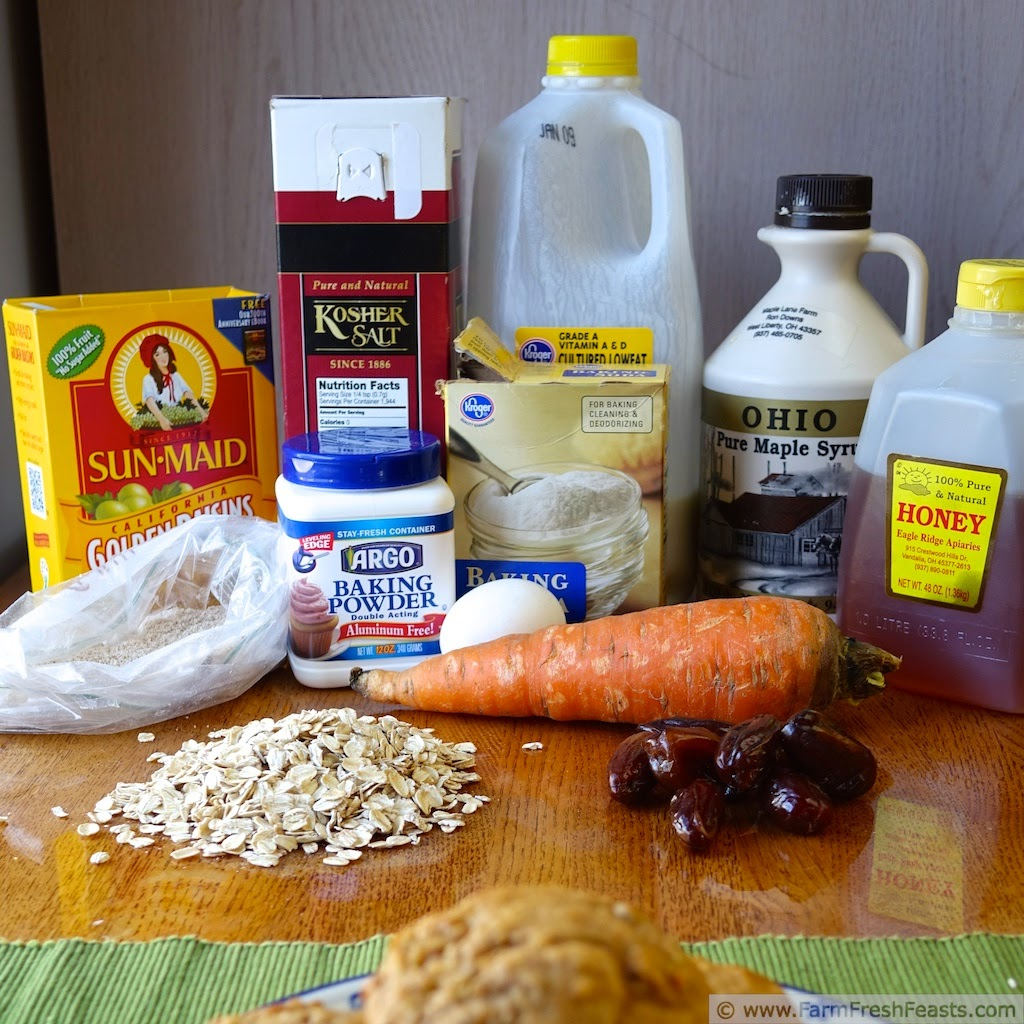 the ingredients used to make healthy whole grain carrot cake muffins
